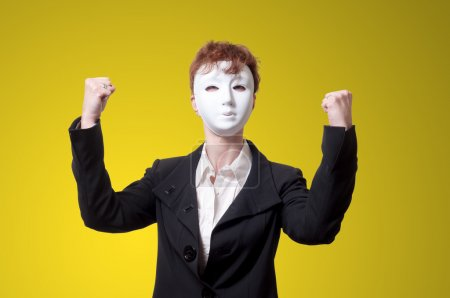 strong business woman with white mask
