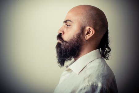 Photo for Long beard and mustache man with white shirt on gray background - Royalty Free Image
