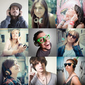 collage of group various people listening to music