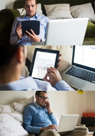 man using technological devices at home