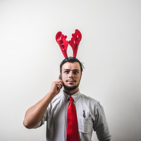 Photo for Funny christmas business man on white background - Royalty Free Image