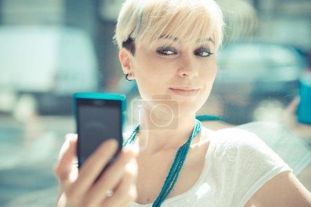 Hipster woman selfie