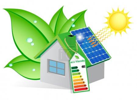 Illustration pour Maison écologique avec un panneau solaire sur le toit et enveloppé dans des feuilles avec des gouttes de rosée - image libre de droit