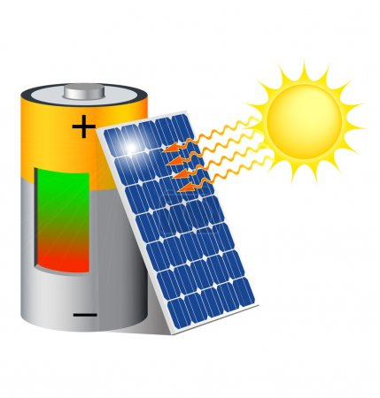 Illustration for Battery charging with a photovoltaic panel exposed to the sun - Royalty Free Image