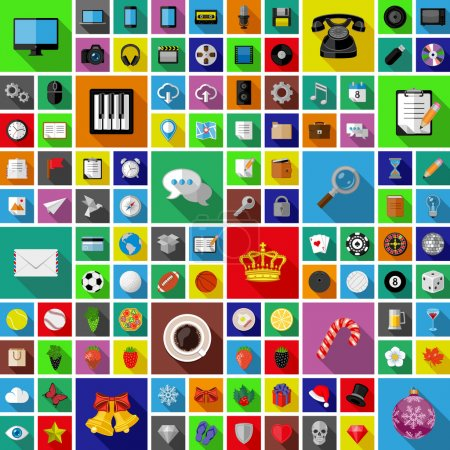 Set of universal icons with long shadow. Flat design