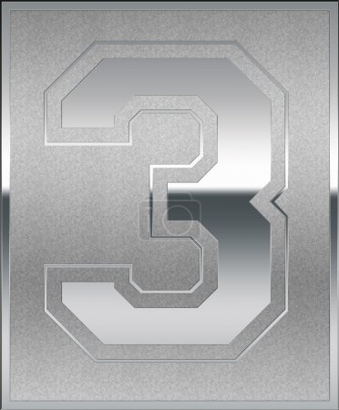 Silver Casted Number 3 Position, Place Sign