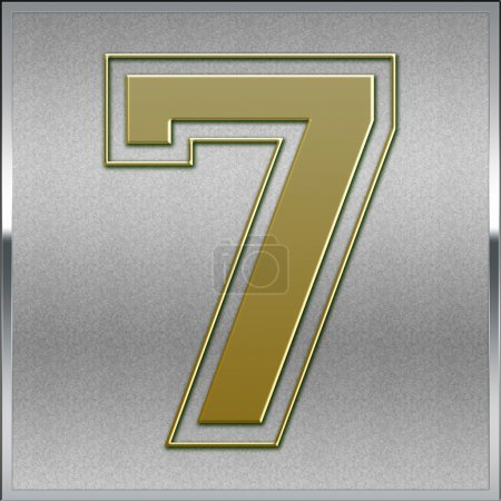 Gold on Silver Number 7 Position, Place Sign