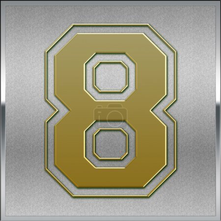Gold on Silver Number 8 Position, Place Sign