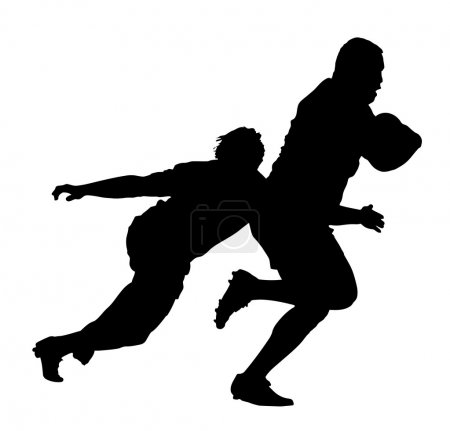 Side Profile of Rugby Player Tackling Runner With Ball