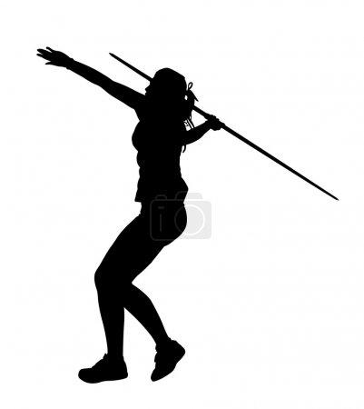 Illustration for Side Profile of Girl Javelin Thrower Running up to Throw Silhouette - Royalty Free Image