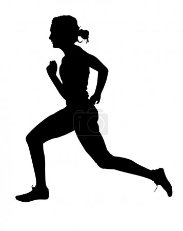 Side Profile of Speeding Female Track Runner