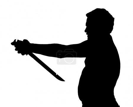 Illustration for Man Silhouette Stubby European Attempting Harakiri with a Samurai Sword - Royalty Free Image