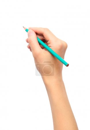 Photo for Woman's hand holding a pencil on a white background - Royalty Free Image