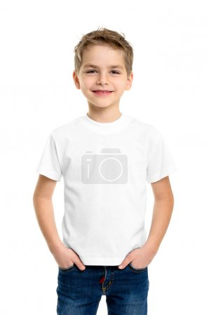White T-shirt on a cute boy