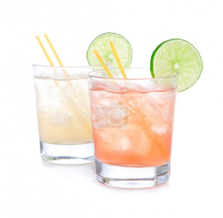 Summer beach margarita cocktails in spirit glasses