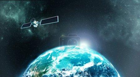 Photo pour Photo haute résolution de l'atmosphère de la planète Terre depuis l'espace avec un satellie sur orbite - image libre de droit