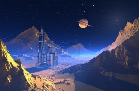 Photo pour Paysage spatial planète lointaine . - image libre de droit