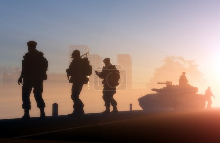 Photo for Silhouettes of the military in the sunlight. - Royalty Free Image