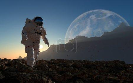 Photo pour L'astronaute sur le fond de la planète . - image libre de droit
