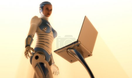 Photo for Cyborg girl near a computer. - Royalty Free Image