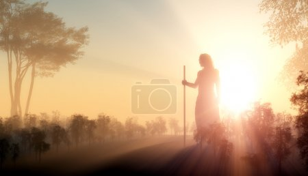 Photo for Silhouette of Jesus in the sunlight - Royalty Free Image