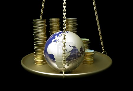 Photo for Globe and coins on scales. - Royalty Free Image