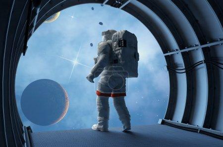 Photo pour Astronaute dans les tunnels de l'engin spatial . - image libre de droit