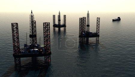 Photo pour Production de pétrole dans la mer par le haut . - image libre de droit