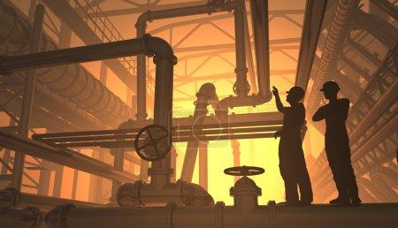 Foto de Silueta del trabajador en la planta . - Imagen libre de derechos