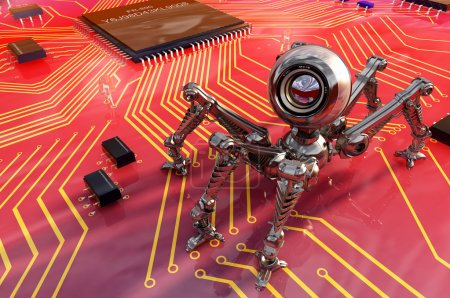 Photo for Robot webcam on the board of chips. - Royalty Free Image