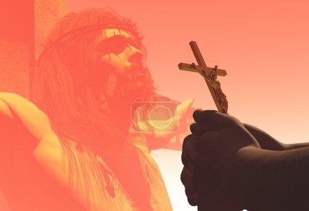 Photo pour Crucifix à la main sur Jésus. - image libre de droit