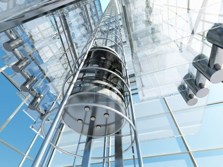 Elevator in a glass building....