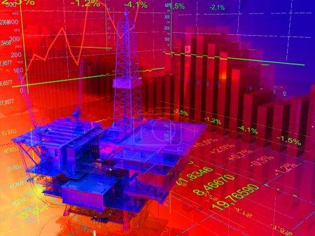 Photo pour Modèle pétrochimique sur le fond des tableaux et graphiques - image libre de droit