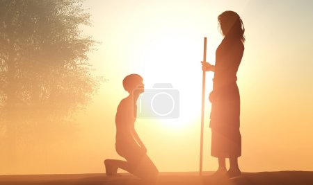Photo pour Silhouette d'un homme à genoux devant Jésus. - image libre de droit