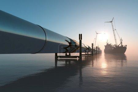 Photo pour Construction du pipeline dans la mer . - image libre de droit