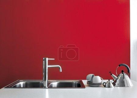 Detail of steel tap in a modern kitchen