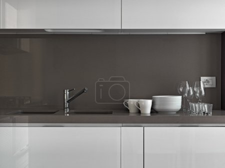 dishes in a modern kitchen