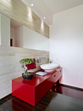 Modern bathroom with red cabinet
