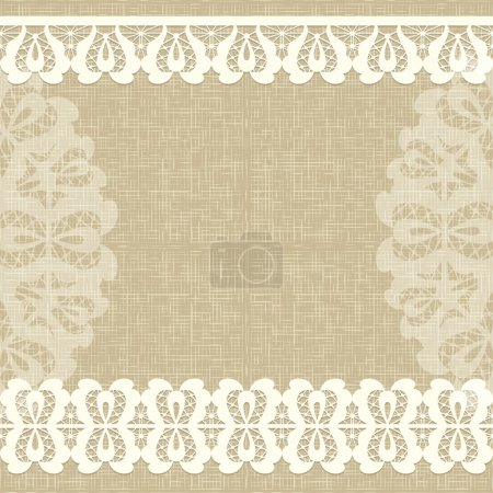 Vector Card with a white lace. Linen canvas Floral Background.
