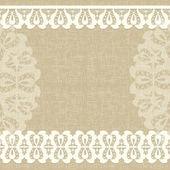 carte de vecteur avec une dentelle blanche. toile de lin fond floral