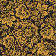 Seamless floral pattern. gold flowers on a black b...