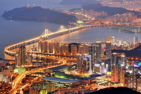Photo for Skyline of Busan, South Korea at night. - Royalty Free Image