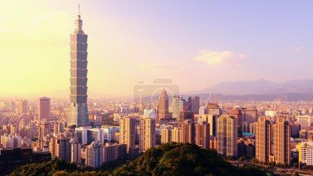 Photo for Taipei, Taiwan evening skyline. - Royalty Free Image