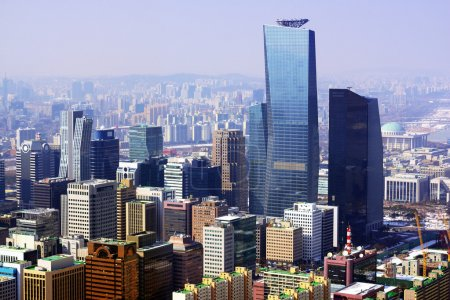 Photo for Downtown cityscape of Seoul, South Kore with smog in the distance. - Royalty Free Image