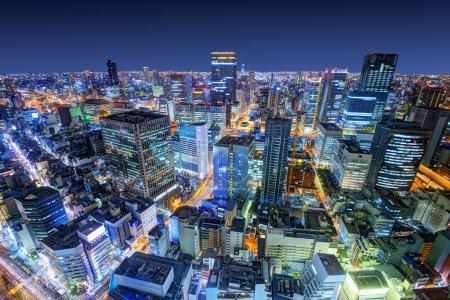 Photo pour Osaka, Japon paysage urbain - image libre de droit