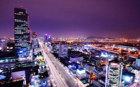 Photo pour Séoul, Corée du Sud skyline dans le district de Gangnam . - image libre de droit