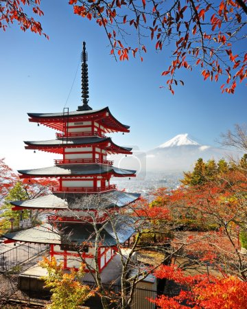 Mt. Fuji and Pagoda in Autumn