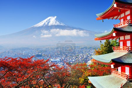 Photo for Mt. Fuji with fall colors in japan. - Royalty Free Image