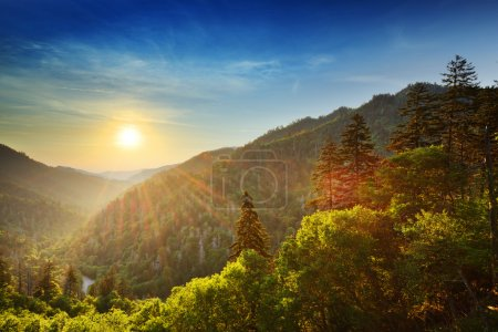 Photo for Sunset at the Newfound Gap in the Great Smoky Mountains. - Royalty Free Image