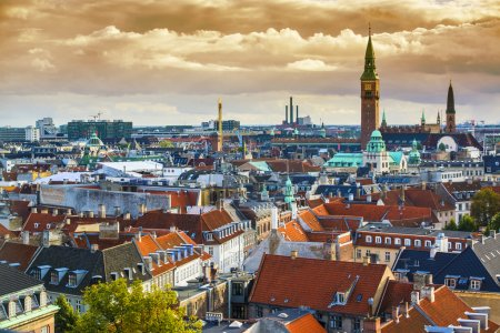 Photo for Copenhangen, Denmark aerial view of the skyline. - Royalty Free Image